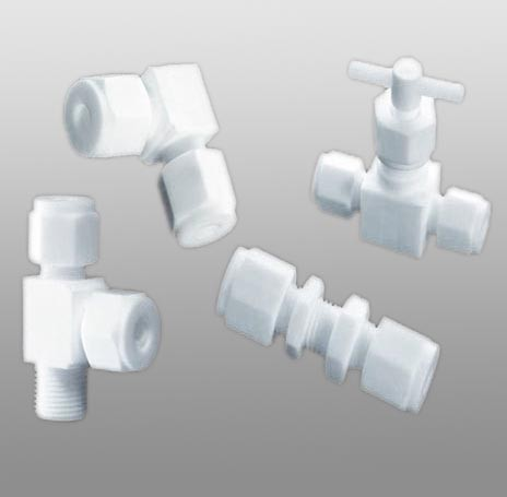 TF0421 PTFE valves and tube fittings